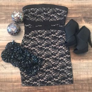 Guess Mini Lace Black Dress